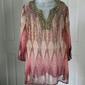 Chico's size 2 sheer gold sequin trim tunic